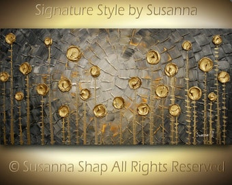 Original Large ABSTRACT LANDSCAPE Contemporary Fine Art Gray Gold Textured Modern Palette Knife Metallic Impasto Painting by Susanna 48x24