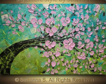 ORIGINAL Abstract Contemporary Blue Green Pink Cherry Blossom Tree Oil Painting Heavy Palette KnifeTexture by Susanna Ready to Hang 36x24