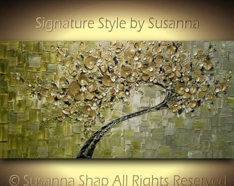ORIGINAL Gold Olive Green Tree Painting Large Abstract Textured Modern Palette Knife Art by Susanna 48x24 Made2Order