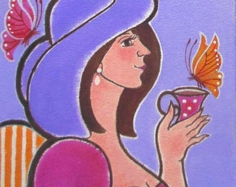 """An Original Acrylic Painting on Canvas - & Mounted on Petite-Sized Wood Panel - 8"""" x 8"""""""