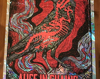 Alice In Chains LAVA Foil Variant Crow Dinosaur Bones Skeleton Jerry Cantrell Layne Staley GIGART Poster 2016