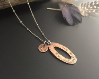 Live a Balanced Life and Lotus Charm Recycled Copper Necklace