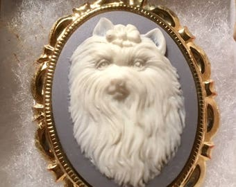 Yorkie Maltese DOG CAMEO pin necklace set in Gold tone 30x40MM animal cameo White on country blue