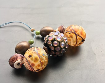 Lampwork glass bead set handmade jewelry making supply by Lori Lochner rustic hollow statement necklace set ""
