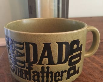 Vintage Avacado Green Dad Pop Father Soup Mug Fathers Day 1970s epsteam EUC