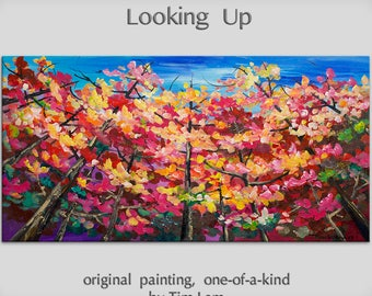 Original Oil Painting tree art Abstract painting Looking Up forest on gallery wrap canvas Ready to hang by tim Lam 48x24