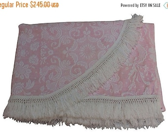 BIG SALE - Pink Matelassé Bedspread w/ Fringe - Bates Queen Elizabeth in Pink and White - Twin Spread - Full Coverlet
