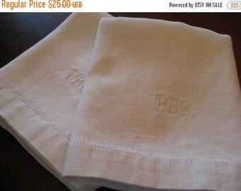 BIG SALE - Irish Linen Monogrammed Towels - White - PBG Initials - Set of Two