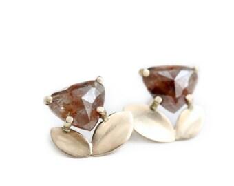 Rose Cut Diamond Stud Earrings - Diamond Post Back Earrings