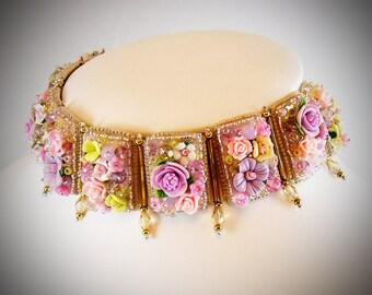 Bridal Choker - Floral Choker - Rose Choker - Custom Choker - Statement Choker - valentine jewelry - Pastel choker - Bridal Choker