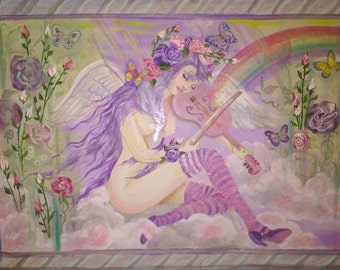 Music From Heaven, Painting, Dame Darcy, butterflies, Gothic, Lolita, surrealism, rainbow, Spanish Moss, roses, clouds, acrylic
