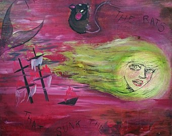 It Was The ,Rats, That Sunk The ,Ship, Fine Art, surrealist,  Acrylic,  Painting, by,Dame Darcy, pirate, mermaid, Gothic, women surrealist,