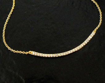 14 Karat Gold Plated Curved CZ Bar Necklace