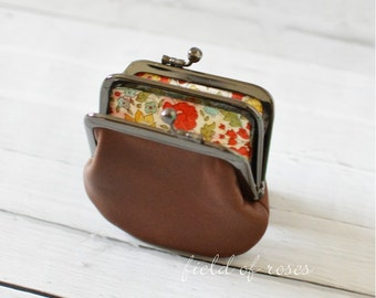 2 section Frame Coin Purse Brown Distressed Leather with Liberty of London Lining 2 Compartment Double Coin Purse with Divider