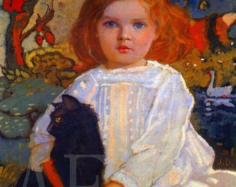 PR-081 Artistic Ephemera Print ~ One 8x10 or Two 5x7s ~ John Duncan - Baba and Billy, Child with Cat