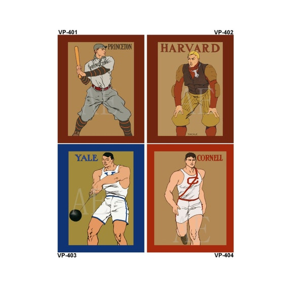 VP401-404 Vintage Poster Art - One 8x10 or Two 5x7s - College Sports Princton Baseball, Harvard Football, Yale , Cornell Runner