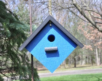New Poly Vinyl Bird House Light Blue or Royal Blue Black Roof Weather Resistant