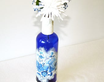 Deep Blue Decorative Liquor Bottle Floral Gift Handmade Home Decor