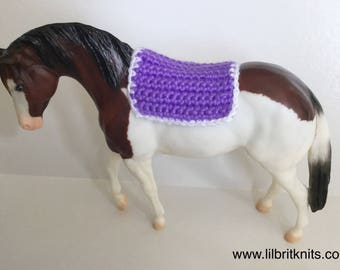 Model horse western saddle blanket crocheted