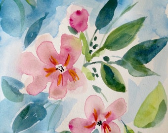 Original watercolor painting Spring Song