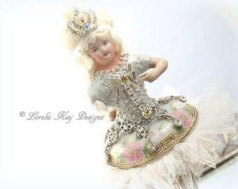 Art Doll Ballerina Dancer Doll Decoration Pink Roses Lorelie Kay Original