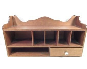 SALE Vintage wood cubby organizer, wall hanging organizer, wood divided shelf, kitchen decor, office decor, wood wall shelf