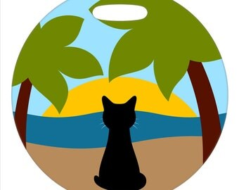 Luggage Tag - Tropical Beach Cat - Round Plastic Bag Tag