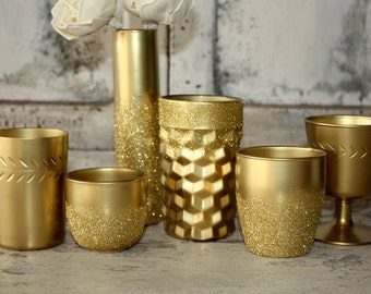 Gold vases, Set of 6 gold dipped vases and tealight candle holders, gold wedding decor, rose gold glitter vases