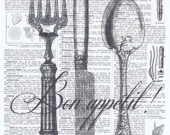 kitchen deco.Cutlery.Utensils.Silverware,Antique book page print.Fork.Knife.Spoon,buy 3 get 1 FREE,chef,cook,birthday.bon appetit.gastronome