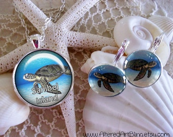 Custom Beach Destination jewelry, custom pendants and earrings, created especially for your favorite beach desitnation, sea turtles,Sanibel