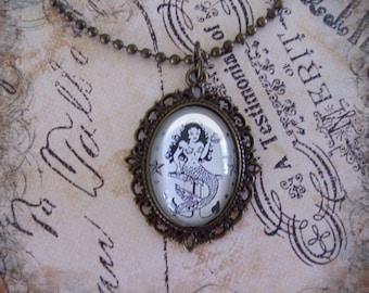 Mermaid pendant ...vintage mermaids,gift boxed,  mermaid tatts, Ready To Ship TODAY,  mermaid jewelry, mermaid pendants, sailor jerry