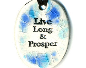 Live Long and Prosper Ceramic Necklace in Blue Crackle