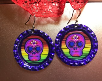 Colorful sugar skull bottlecap earrings