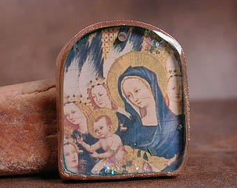 Resin Pendant with Handmade Goldie Bronze Bezel and the Virgin & Child from The Wilton Diptych Divine Spark Designs
