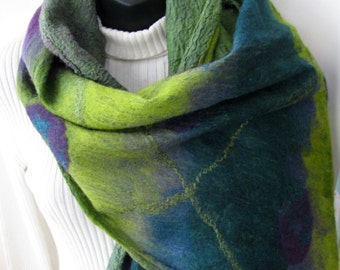 Nuno Felted Shawl for Women Chartreuse Green Purple and Teal Wool and Silk Scarf with texture Winter Wrap Winter Scarf Gift for her