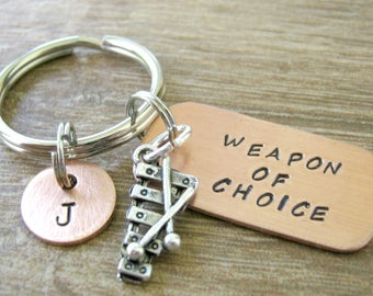 Personalized XYLOPHONE Keychain, Weapon of Choice, marching band gift, xylophone player, marimba keychain, optional initial disc