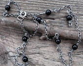 20% OFF Today Black onyx sterling silver layering necklace