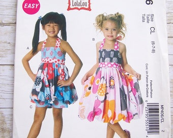 McCalls MP496 Girls halter dress top and pants size 6-7-8