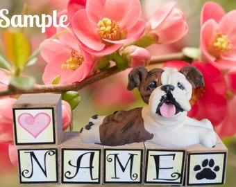 Brindle & white English Bulldog dog PERSONALIZED with your dog's name on blocks by Sally's Bits of Clay