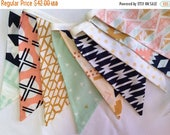 20% OFF Arizona Fabric Bunting Flag Banner, Garland Bunting.  Mint, Apricot, Designer Fabrics, Weddings, Birthdays, Shower Decor