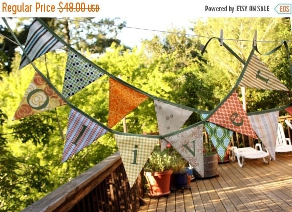 20% OFF Custom Personalized Banner. Fabric Bunting, 5 Flags, Includes 5 Letters...