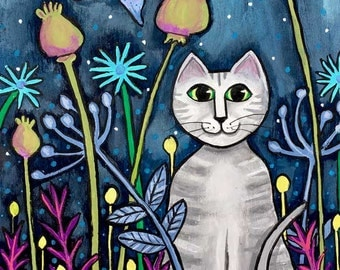 midnight grey Tabby Cat in garden Shelagh Duffett -  Print
