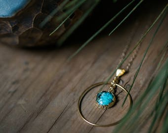 Turquoise Eclipse Necklace - Circle Pendant, Round Halo Jewelry - Sterling Silver 14k Gold - Mother's Day Gift, December Birthstone