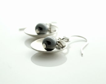 Sterling Drop Earrings, Silver Beaded Earrings, Modern Earrings, Hematite Bead, Metalwork Jewelry, Artisan Jewelry, Handmade  Buffalo, NY