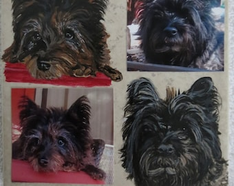 Pet Portrait Memorial 6 x 6 in Hand Painted Tile and Made to Order by Shannon Ivins