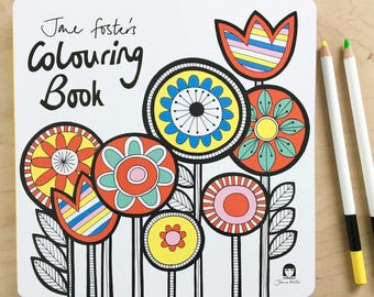 New Jane Foster's Colouring Book  - Signed with free Birds Screen Print!  - Scandi Mid Century Modern style illustrations