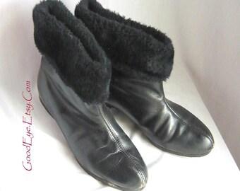 Vintage 60s Pixie Ankle Boots Leather / size 7 .5 C-width  Eur 38 UK 5 / Winter Shoes Faux FUR LINED Booties Snow