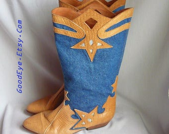 Vintage Denim Fabric n Leather CUT OUT Boots / size 7 m Eu 37 .5 Uk 4 .5 / Rockabilly Western Cowboy Flat Heel / CAPORICCI made Italy