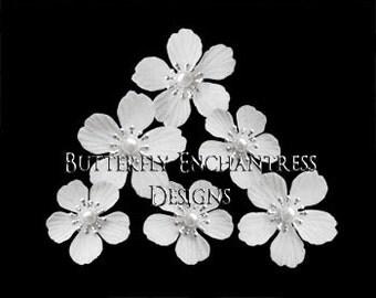 White Beach Hair Piece, Bohemian Bridal Hair Accessories, Destination Wedding - 6 White Summerlynn Cherry Blossom Flower Hair Pins - Pearl