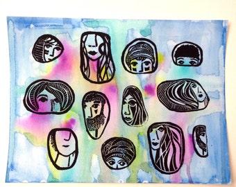 watercolor, linoprint, blockprint, artprint, linocut print, 9x12, handprinted, handpulled, handcarved, people, faces, illustration